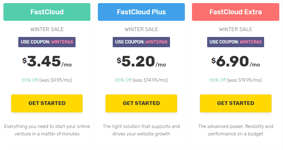 Fastcomet plan and pricing